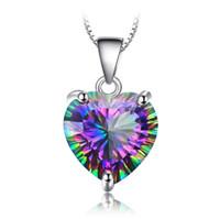 Karocchi Europa y América corazón corazón negro siete colores topacio piedra colgante femenino retro color joya collar cadena de clavícula