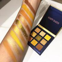 9 Renk Sarı Güzellik Sırlı Makyaj Göz Farı Pallete Makyaj Fırçalar Pırıltılı Pigmentli Göz Farı Paleti Makyaj Paleti