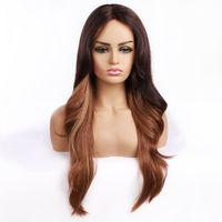 Ombre Color Perücken 613 Blonde Farbe lila Körperwelle Haarperücken 2 # 27 # Blaue Hohe hitzebeständige Faserhaare seidige Gerade Spitze Perücken für Frauen