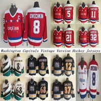 Washington Capitals CCM خمر Jerseys 8 Ovechkin 68 Jagr 32 Hunter 21 Maruk 5 Langway 11 Gartner 37 Kolzig Hockey Jersey