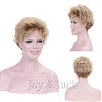Joy&luck Short Curly Wig Brwon Ombre Blonde Synthetic Wigs f...