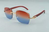 2019 Hot vente récent style exquis 3524018-2 micro-lentilles de coupe, lunettes de soleil originales naturelles lunettes de temples en bois, taille: 18-135mm