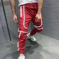 Unisex Gece Jogger Erkekler Spor Yansıtıcı Pantolonlar Eğitim Gym Fitness Erkekler Kalem Pantolon İnce Patchwork Koşu Spor Koşu