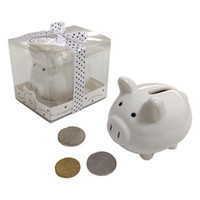 Ywbeyond ceramica Mini Piggy Bank in confezione regalo con scatola Polka-Dot Bow Coin per baby shower favorisce battesimo regali 20pcs