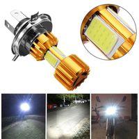 1 stycke tre sidor motorcykel strålkastare stråle H4 HS1 H6 P15D vit glödlampa 6000K LED 18W Hi / Lo Cob Chip 2000lm DC 12V