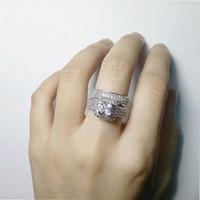 Weinlese-Frauen-Ring-Quadrat KubikZircon Cut simulierter Diamant Cz Wedding Band Ringe-Set für Frauen Romantische Verpflichtungs-Schmucksachen