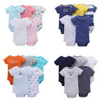 Baby-Spielanzug-Jungen-Mädchen 100% Baumwolle mit kurzen Hülsen-Spielanzug 5pcs / lot mischte Muster Neugeborene Kleinkind-Kind-Kleidung 2020 Sommer