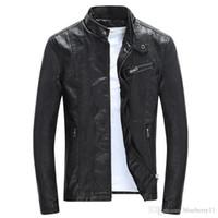 İlkbahar Sonbahar Erkek PU Deri Ceket Yaka Coats Erkek Motosiklet İnce Dış Giyim Siyah Erkek ceketler Standı