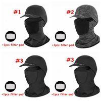 Protección Solar enfriamiento de la máscara cubierta de la cabeza de ciclo con máscaras Cubierta de la cabeza del borde de seda del hielo de ciclo al aire libre con 1pcs Filtrar Pad CCA12149 30pcs