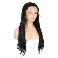 Toptan kadın dantel ön peruk üç kirli örgü sentetik saç peruk 18-26 inç doğal siyah yüksek kaliteli gerçekçi gerçekçi