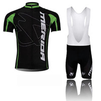 Merida 팀 사이클링 짧은 소매 유니폼 턱받이 반바지 세트 남자 여름 의류 운동복 야외 MTB Ropa Ciclismo 자전거 착용 Q60918