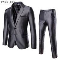 Men' s 2 Piece 2 Buttons Slim Fit Gray Suit (Jacket+ Pant...