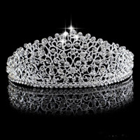 Sparkling Silver Big Wedding Diamante Pageant Tiaras Hairband Crystal Bridal Crowns For Brides Prom Pageant Hair Jewelry Headpiece 2019