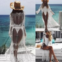 1fed731db4 New Arrival. New Summer Women Sarong White Lace Maxi Bikini Cover Up Pareo  Beach Long Chiffon See Through Crochet Cardigan ...
