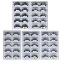 3D Vizon Yanlış Lashes Uzun Kalın Çapraz Doğal Vizon Kirpikler El Yapımı Yanlış Kirpik Göz Makyaj Araçları 5 çift / takım RRA1043