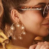 gros exagèrent grande mode de pompon cercle grand boucles d'oreilles pour les femmes parties cadeau accessoires bijoux