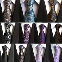 Clássico Gravata dos homens Paisley Gravata Jacquard Gravatas Gravatas Moda Mens Wedding Listrado Pontos Florais Gravatas de Negócios Mais de 100 Cores MOQ 10 pcs
