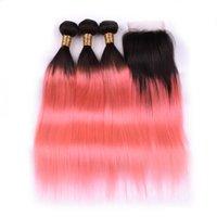ombre #t 1b / 핑크 2 톤 스트레이트 레미 인간의 머리카락 짜기 묶음 3 × 4x4 레이스 클로저가있는 짜기 무료 배송