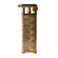 Clásico archaize cobre queroseno encendedor rueda de pedernal Cigarrillo Encendedor llama cigarro Recargable súper delgado Nostálgico anticuado bonito regalo