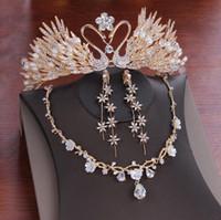 De mayor venta de aretes collar de la corona nupcial de la boda de tres piezas de patrón de ciruela cisne diseñador de regalos de cristal blanco partido hecho a mano hecho a mano del partido