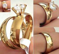 24 stks (12 paren) Gouden paren Ring Liefhebbers Ring Roestvrijstalen Bruiloft Engagement CZ Band Ring Kwaliteit Comfortabele Klassieke Sieraden