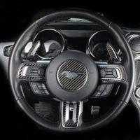 Karbon Elyaf Direksiyon Amblemi dekorasyon halka Çıkartma logosu Çıkartmaları Oto Aksesuarları için Ford Mustang 2015-2019 Araç Şekillendirme