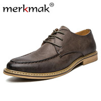 Merkmak 2018 New Luxury Men Dress Shoes Retro in pelle Oxford Scarpe Lace Up punta a punta Business Work Wedding Party Mens appartamenti