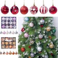 WX9-1750 DHL Navidad Bolas de las decoraciones de Navidad Adornos del banquete de boda de plástico del árbol de Navidad Adornos de Navidad de bola del regalo 12pcs / lot