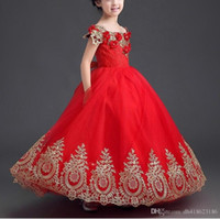 Appliques di lusso in oro Ball Gown Off the Shoulder Rosso lungo Girls Pageant Abiti bambini Prom Party Dresses Flower Girl Dresses YTZ104
