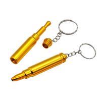 forma de bala dourada com chaveiro da tubulação do metal Dicas Cleaner Acessório 69 milímetros Fumar Tabaco Cachimbo Cigarro Grinder um Hitter Bat