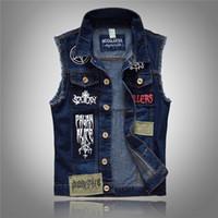 Shopping9 All'ingrosso- Gilet di jeans vintage sfilacciato Gilet di jeans da uomo di design Gilet di jeans lavati da uomo Giacca da uomo senza maniche di jeans vintage da cowboy