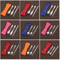 Yemek Seti Paslanmaz Çelik Çatal Kaşık Chopstick Seti Ile Kese Kiti Yeniden Kullanımlık Açık Seyahat Piknik Sofra 12 Stilleri WX9-1169