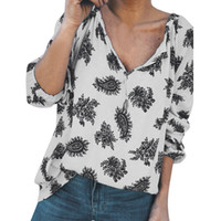 Damen Bluse Sommer Fashion Shirt mit V-Ausschnitt-Druck-Hemd Lange lose Blusen-Sommer-Grün Street Harajuku Tops Chemisier Femme