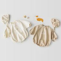 Mode Baby Girls Romper Toddler Långärmad Hund Tryck Jumpsuit med Hat Nyfödda Romper Barnkläder