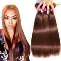 8A البرازيلية العذراء الشعر مستقيم # 4 لون البرازيلي الشعر البشري ينسج البرازيلي مستقيم الشعر حزم الضوء البني