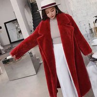 Bella Philosophie Frauen-Winter-Pelz-warmer langer Mantel-lange Hülse Female Thick Teddybär-Mantel-beiläufiger loser Aufmaß Outwears