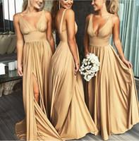2020 Sexy Длинные золото платья невесты Глубокий V шеи Empire Split Side Длина пола Шампань-Бич BOHO Свадебные платья гостей