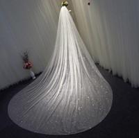 3 أمتار التألق تول الزفاف الحجاب طويل بلينغ بلينغ الزفاف الفاخرة الحجاب الزفاف الاكسسوارات الزفاف كاتدرائية طول في المخزون 1 الطبقة العروس الحجاب