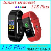115 Inoltre Colore dello schermo la pressione sanguigna Bracciale Braccialetti di Smart Sports Activity Monitor impermeabile vigilanza dell'inseguitore con la scatola di vendita al dettaglio ID 115 Più