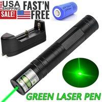Liga de alumínio Camping Green Laser Pointter Pen 10 Mile Military Star Cap Astronomia 5mw 532nm Potente Gato Toy + 16340 Bateria + Carregador Inteligente