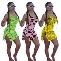 Kleid-Frauen mit V-Ausschnitt Casual Weibliche Bekleidung Fashion Neckholder Frauen Bodycon Kleider Sexy 3D-Strand-Druck