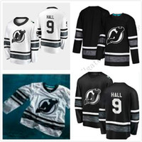 Pas cher 2019 All Star Jerseys Hommes 9 Taylor Hall New Jersey Devils Noir Blanc Blank Top Qualité Hommes 2019 All-Star Patch Hockey Jersey