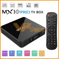 MX10 PRO Caixa de TV Inteligente Com Display Digital Rockchip 3328 Android 8.1 4 GB de RAM 32 GB ROM 2.4G 5G WiFi Media Player BT4.1 Suporte 4K H.265
