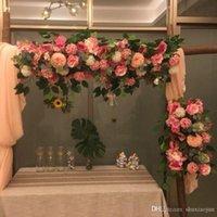 웨딩 아치 백 드롭을위한 패션 인공 실크 모란 장미 꽃 행 배열 용품 DIY 정원 중앙에있는