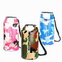 Yaz Seyahat Su geçirmez Kepçe Kamuflaj Kuru ambarları% 50 Moda Plajı Sırt Kuru Sürüklenen Çanta PVC Açık Spor Açık Paketleri