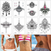 Bijoux poitrine tatouage temporaire autocollant Squeletté Faux Noir Henné Fleur d'eau Papier pour transfert de tatouage imperméable pour femme Décor Bikini