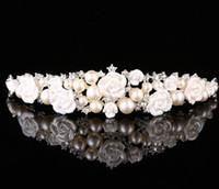 Luxus Mädchen Perlen Strass Krone Perle Rose Kristall Tiaras Kronen Brautschmuck Hochzeit Zubehör Kinder Prinzessin Stirnbänder A1663