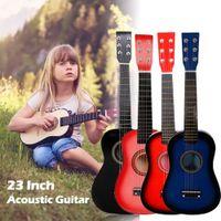 23 inch rode gitaar beginners Oefen akoestische gitaren met Pick 6-string voor kinderen Kinderen Muziekinstrument
