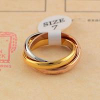 Clássico de três anéis anel de homens mulheres casal Moda estilo simples anéis com três cores Rose Gold Rings