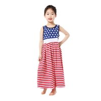 Independence Day Girl Dress Kids Star Stripe Flag Cotton Sle...